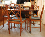 Ethan Allen Breakfast Table and Rattan Chairs (we believe there may be a leaf)