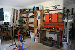 Workbench, older but good quality power tools, drop lights, and more!
