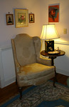 One of a pair of clean, Drexel wingback chairs