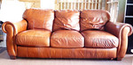 Leather sofa, fair to good condition.