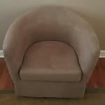 Microfiber swivel barrel chair
