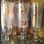 Gold leaf footed water glasses