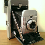 Immaculate Polaroid Land camera with leather case, flash, etc