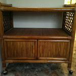 Clean rattan bar cart