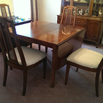 Vintage drop leaf dining table that expands to traditional size.