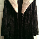Vintage poodle coat with real fur collar