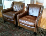 Pair of Berhardt club chairs.  Better than photos.  Smaller, compact size.