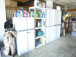 Great garage storage cabinets, weed killer, tooks, etc.