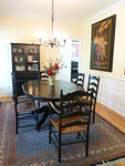 Pier One dining table w/6 chairs.  Chairs recently had new rush seats installed and have some age in comparison to dining table.  Sold as a set.