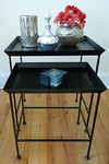 Pottery Barn or Crate and Barell heavy iron nesting table pair.