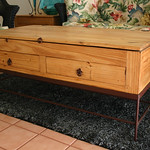 Rustic coffee table that matches pair of end tables