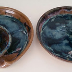 Pair of studio pottery chip and dip sets
