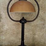 Decorator lamp with harp shade