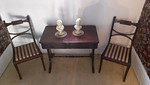 Semi-antique mahogany entry table and chairs, second floor landing.