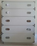Cool campaign style chest with chrome hardware. 6 drawer chest