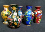 Collection of small cloisonne vases