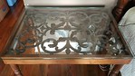Pair of iron and glass side tables