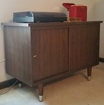 Sony turntable and retro record cabinet