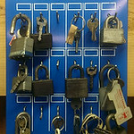 Hardware store display with padlocks
