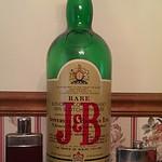 Large J&B liquor bottle, flasks
