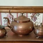 Hammered copper tea service