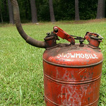 Neat old gas can.  No snowmobile to be found...