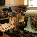 KitchenAid Artisan 325 watt motor.  Our owner said this color was very difficult to find.
