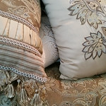 Queen bedding purchased at Belks with many pillows