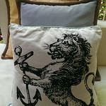 Pottery Barn and 1 Kings Lane outdoor pillows.  We have never used, matching Pottery Barn draperies.