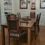 Vintage Thomasville dining table and chairs.  This is a large table as shown with two leaves.  Includes table pads.