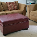 Bassett sofa and chair with storage ottoman.  Sofas are kid's room furniture and in very good condition with only light wear.