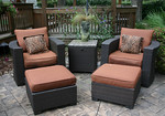 High quality, all-weather wicker w/Sunbrella fabric.