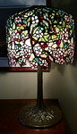 "Quoizel ""Tiffany Style"" wisteria leaded glass lamp"