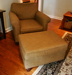 Super clean Broyhill upholstered chair and ottoman