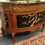 Demi-lune marble top console with brass mounts and cabriole legs