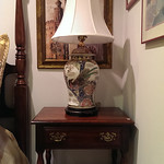 American Drew night stand and decorator lamp