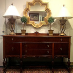 Darker than desired photo of sideboard.  Professionally refinished by antique furniture expert, Robert Sarko.