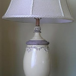 Heavy pottery lamp with quality shade
