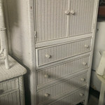 Wicker armoire/chest of drawers with custom glass top