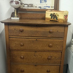 Oak chest with mirror.  Needs your TLC.