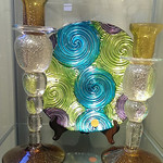 Art glass plate and Murano style candlesticks