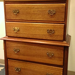 Seldom seen diminutive, white mahogany antique chest on chest.