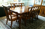 Inlaid dining table with 6 chairs and additional leaf (not shown)
