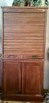 Mission oak tambour door cabinet.  Needs some light TLC.