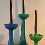 Retro pottery candlesticks